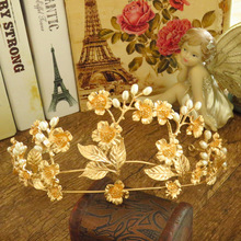 Bride jewelry new leaf gold baroque crown head decoration wedding photo studio wedding accessories