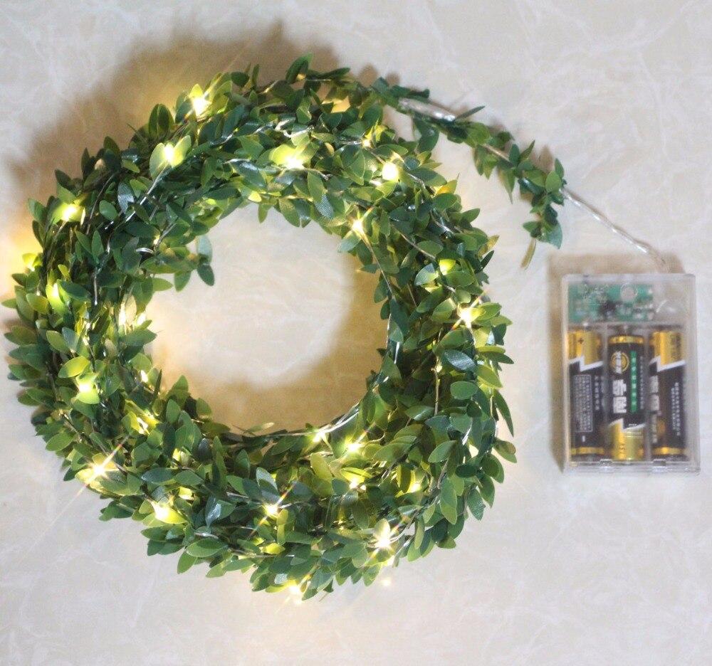 2M 5M 10M ledet bladkrans batteri streng fe christmas lys for ferie - Ferie belysning - Bilde 2