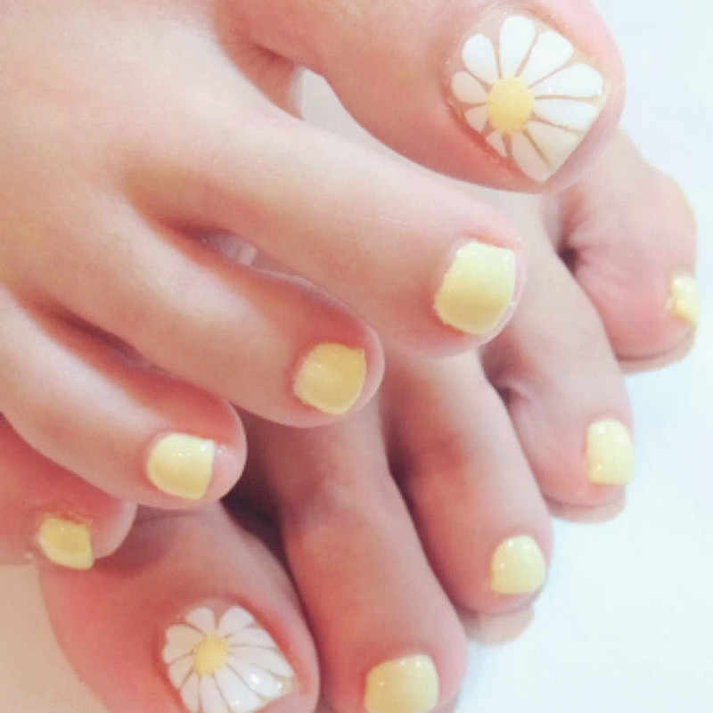 Lovely Toe Nails Sun Flower Acrylic Fake Nails Yellow Flat Top False Toenail DIY Nail Art For Foot 24Pcs