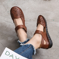 Summer Shoes Woman Genuine Leather Soft Outsole Closed Toe Sandals Casual Flat Women Shoes New Fashion Women Sandals