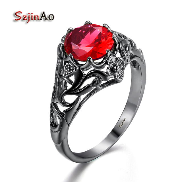 szjinao gothic female fire red ring fashion round crystal black gold filled vintage jewelry wedding rings - Female Wedding Rings