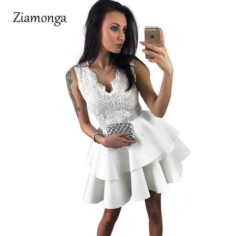 d87c32f7cb Ziamonga Black Sequin Lace Layered Skater Mini Dress White Woman Summer  Sleeveless Cocktail Party Dresses Vestido De Festa Curto