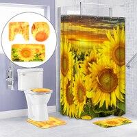 Xueqin 1Set PVC Sunflower Bathroom Products Pedestal Rug + Lid Toilet Cover+Bath Mat Set + Shower Curtain+12x Hooks Home Decor