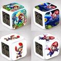 Super Mario Reloj Despertador Colorido de Dibujos Animados LED luz de La Noche Juguetes Electrónicos Cambio Glowing Digital Moodicare Relojes Temperatura # FB