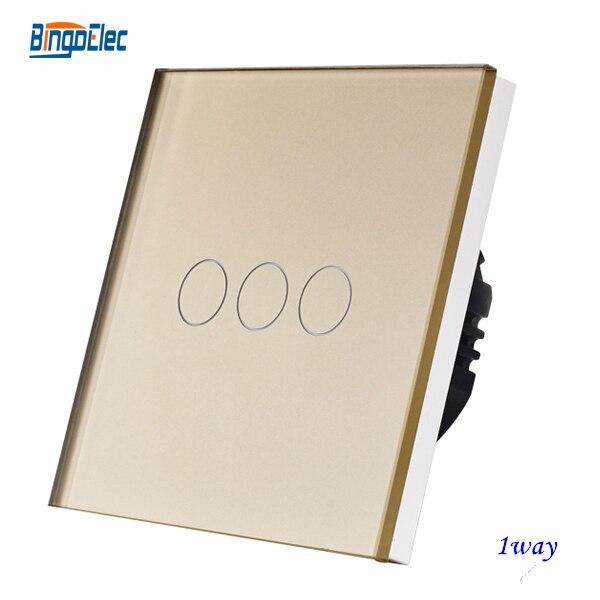 Bingoelec EU/UK Standard 3gang 1way touch sensor light switch ,Gold glass , CE certification,Electrical Wall Switch suck uk