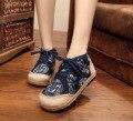 Старинные Вышивки Обувь Тайский Boho Хлопок льняной холст ткань Китайский Дракон тотем национального сплетенные Круглый Носок плоские туфли 35-40