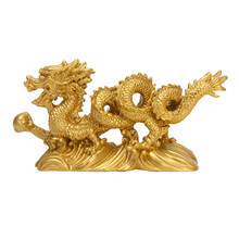 Feng Shui Gold Dragon Figurine for Luck and Success Decoration Home Gift