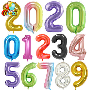 40 Inch Big Foil Birthday Balloons Helium Number Balloon 0-9 Happy Birthday Wedding Party Decorations Shower Large Figures globo(China)