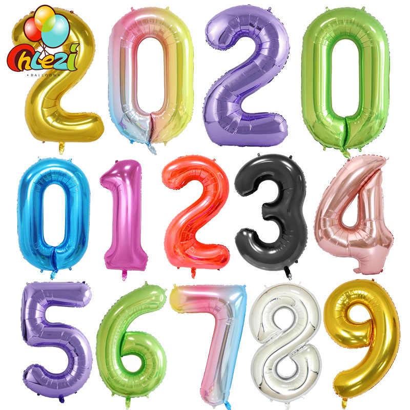40 Inch Grote Folie Verjaardag Ballonnen Helium Nummer Ballon 0-9 Gelukkig Verjaardag Bruiloft Decoraties Douche Grote Cijfers globo