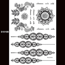 India Henna Tattoo Body Art White And Black Lace Tattoos Temporary Decal Flash Sexy Bride Wedding Bracelet Design Sticker S1010B