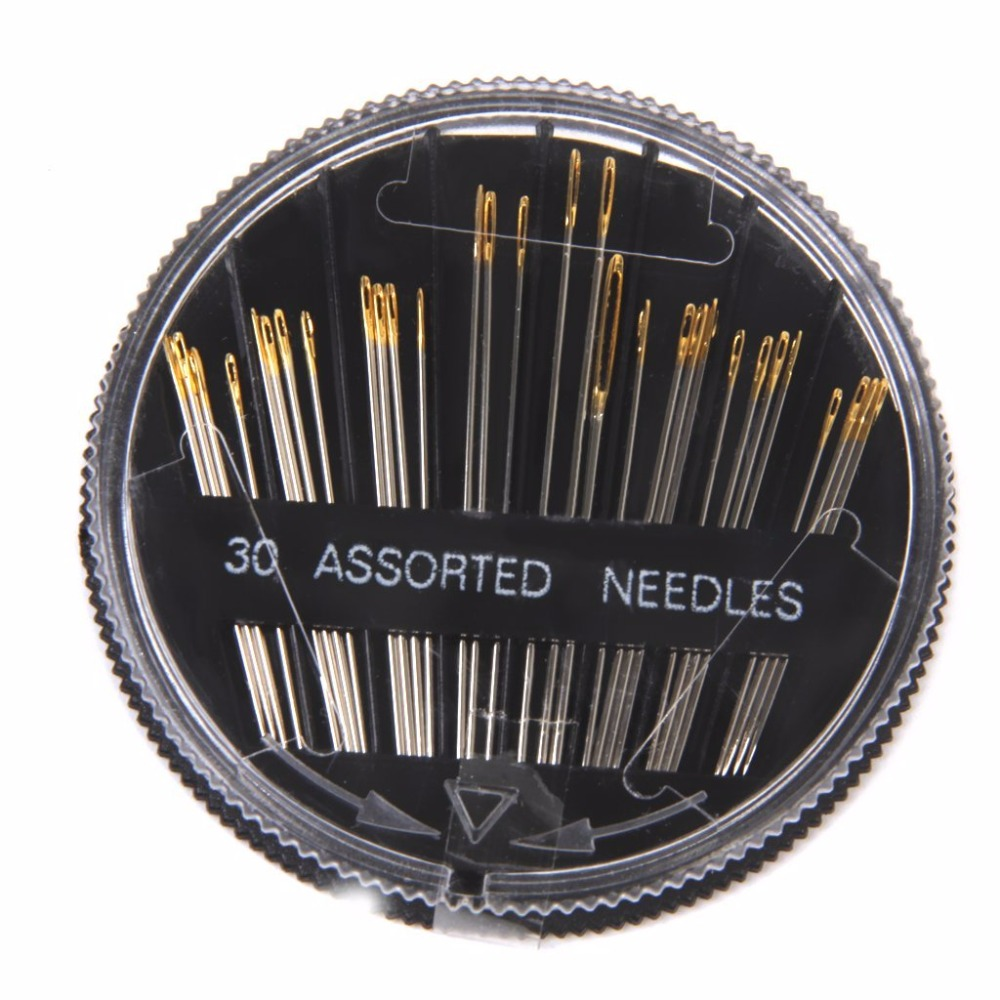 Купить с кэшбэком 30pcs Assorted Hand Sewing Needles in Compact Stainless Steel Big Eye DIY Craft Sewing Needles Set with Different Sizes
