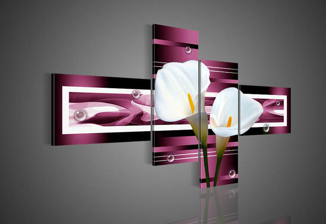 Charmant Framed 4 Panel Large Purple Wall Art White Flower Calla Lily Painting Home  Decor Picture A1154