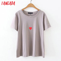 Tangada Women T-shirts 2017 Summer Ladies Heart Print Tops Tees Short Sleeve Black Tops Casual Basic Brand T shirts DT12