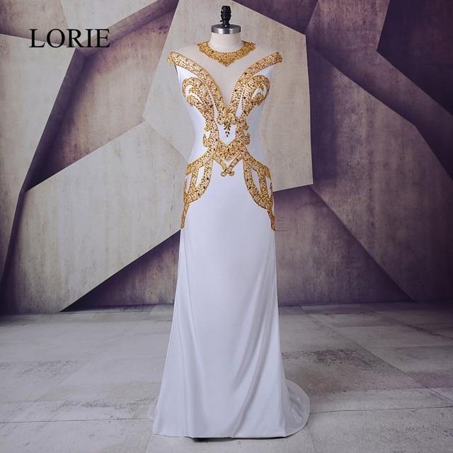fdad3d10a55ba White Gold Prom Dress 2018 LORIE Vestidos de gala largos Spandex Plus Size  Evening Gown Sheer Illusion Formal Long Party Dresses