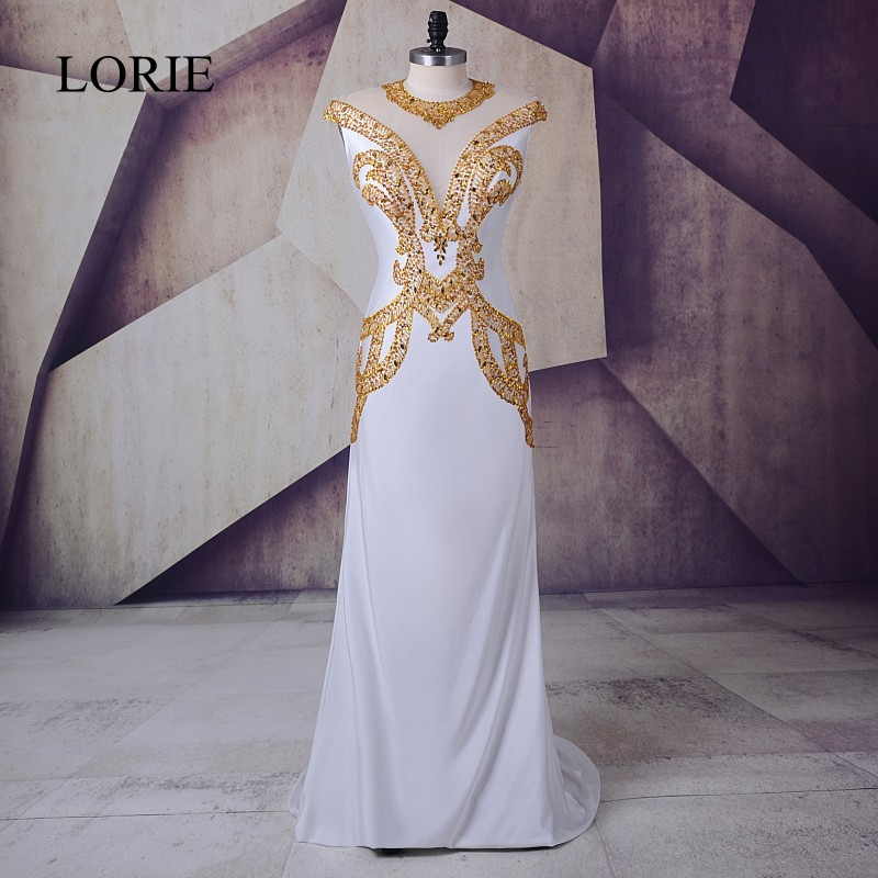 White Gold   Prom     Dress   2018 LORIE Vestidos de gala largos Spandex Plus Size Evening Gown Sheer Illusion Formal Long Party   Dresses