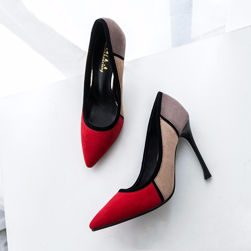 Pumps 2018 spring Office lady single shoes shallow mouth pointed toe high-heeled shoes thin heels sexy Pointed Toe women Shoes korean woman high heel pointed toe solid mujer pumps shallow mouth square heels womens shoes work office lady all match tacones