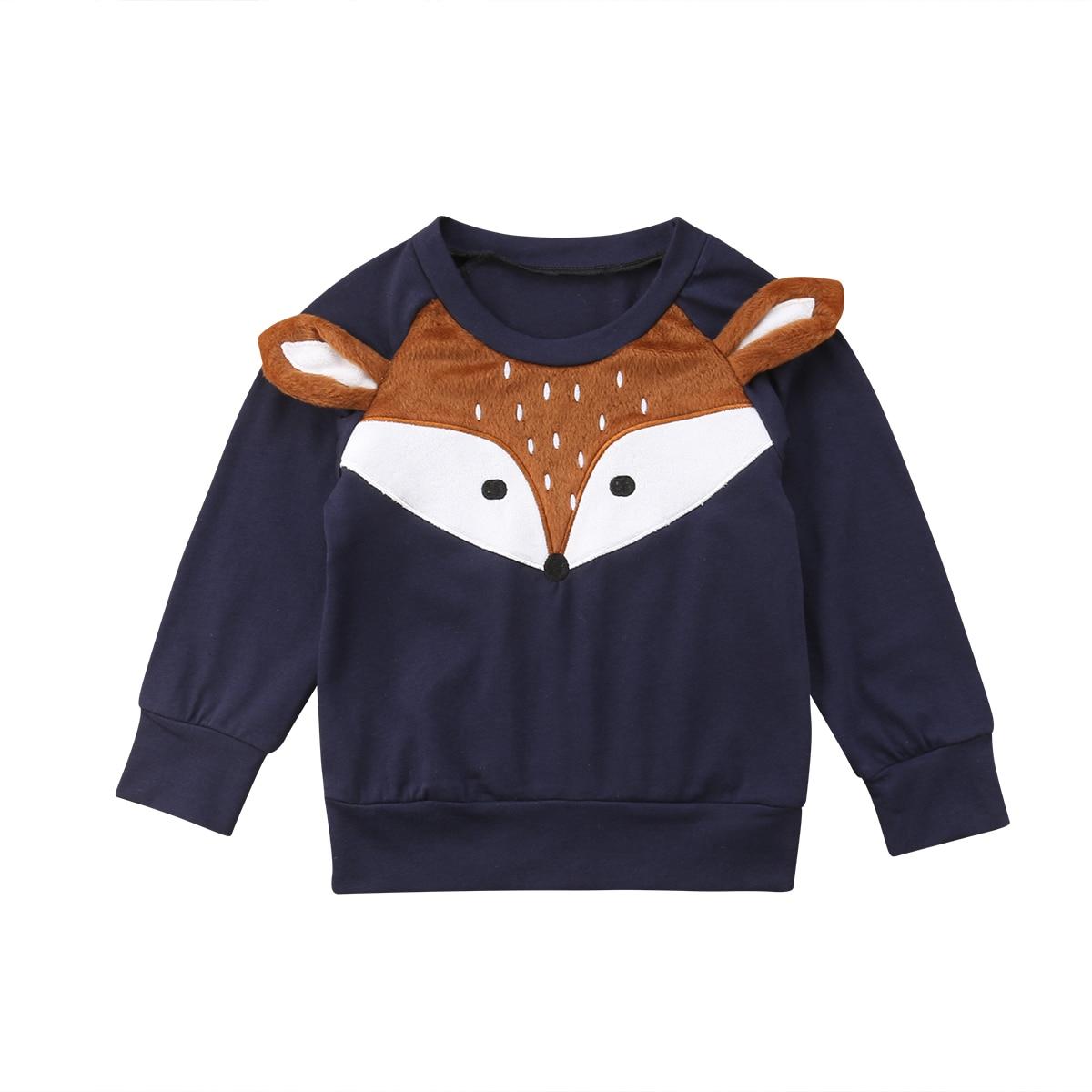 0-4y Mode Kausalen Kleinkind Baby Mädchen Jungen Sweatshirt Outwear Cartoon Druck Langarm Pullover Blau Warme Tops Fit Herbst Schrecklicher Wert