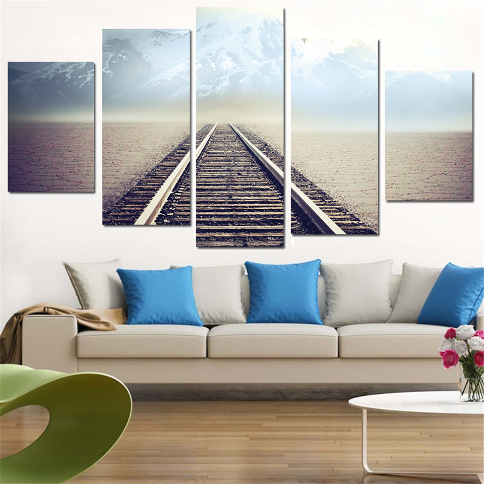 Art Modular Poster Frame HD Printed 5 Panel Railway Mist Landscape Painting Wall Modern Canvas Living Room Pictures Home Decor