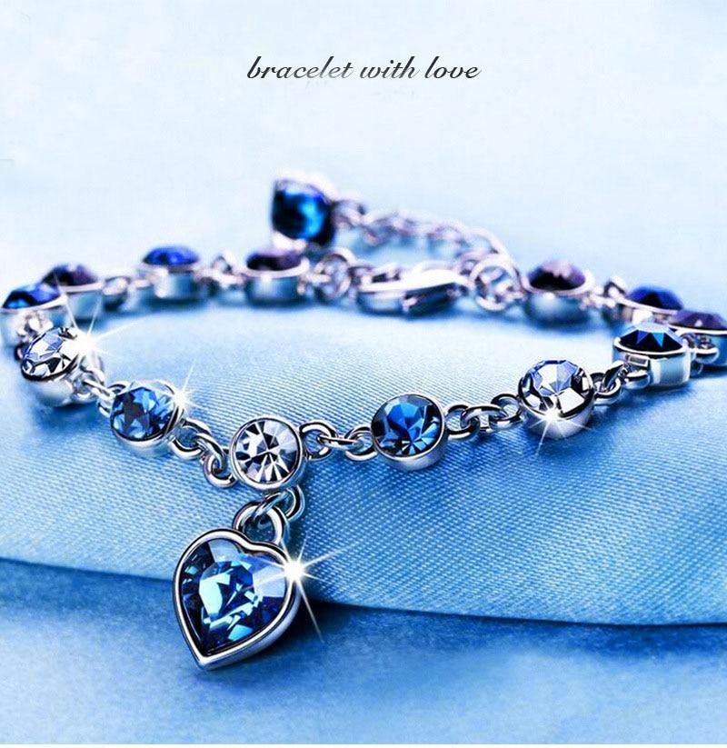 03d8ccbb971e4 US $1.44 52% OFF|Girls Crystal Bracelet Australia, Ocean Heart Love Heart  Shaped Bracelet, Cz Heart Friendship Bracelets for Women-in Charm Bracelets  ...