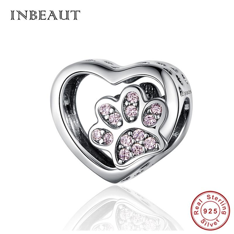 INBEAUT 100% Real Original 925 Sterling Silver Pink Zircon Bear Footprints Beads Cute Pet Heart Charms Fit Pandora Bracelet Gfit