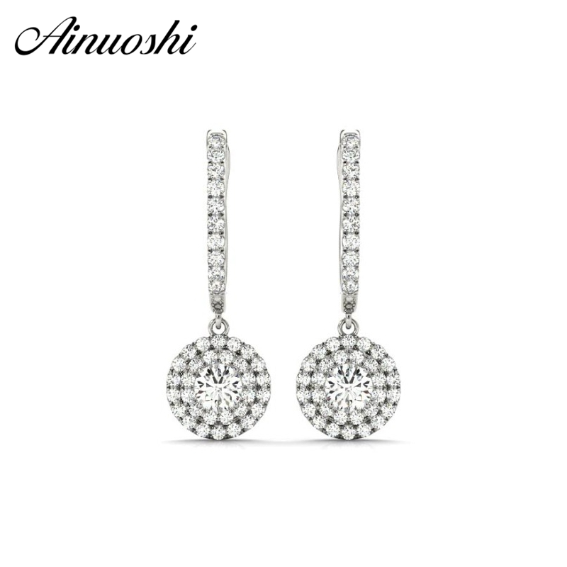 AINUOSHI Luxury Drop Ear 925 Sterling Silver Women Halo Drop Earring 1 Carat Round Cut White Yellow Rose Gold Color Drop Earring