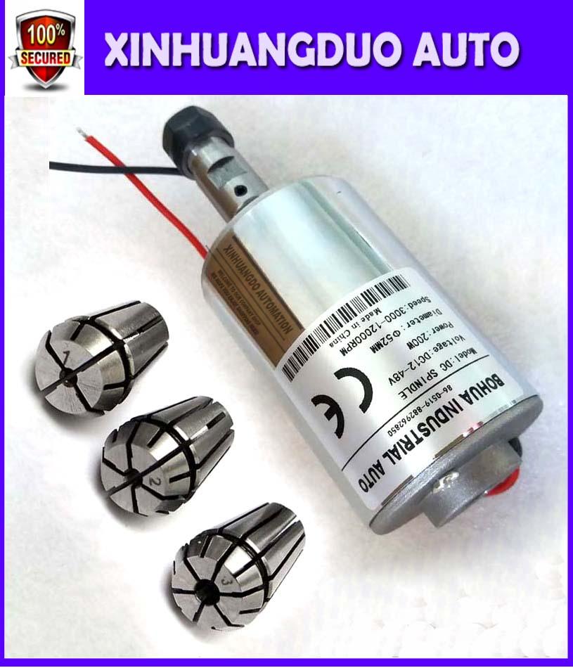 High Speed CNC Starter 12-48V ER11,12000rpm, 200 W Mini Spindle Motor, Diy Spindle Motor For Cnc Starter+ ER11 Chuck (1mm-3mm)