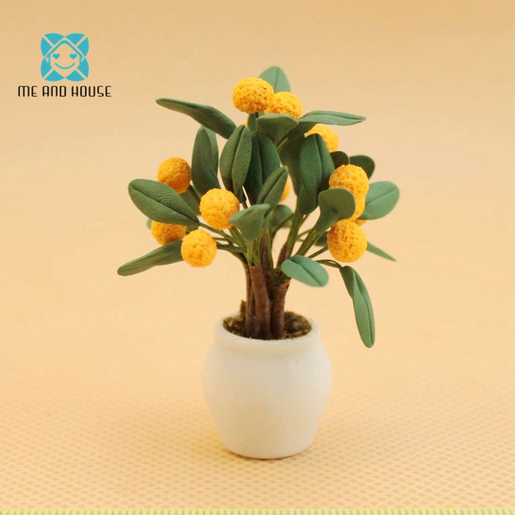 1:12 Doll House Miniature handcrafted clay orange tree in ceramic pot for garden