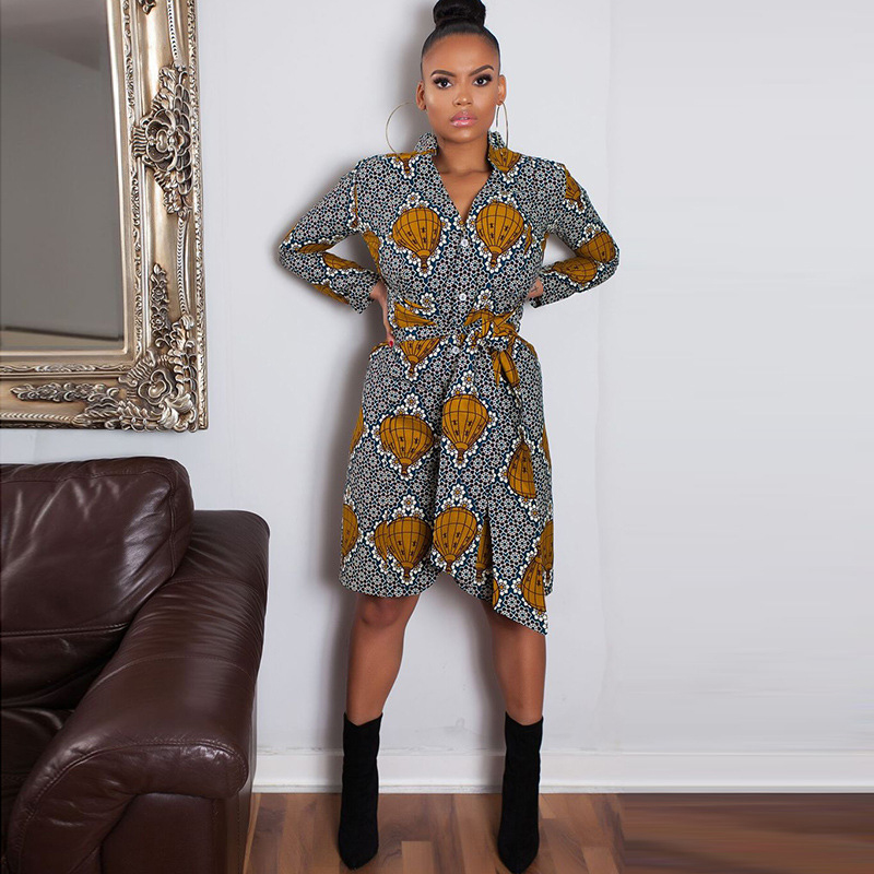 2019 Women Long-sleeve Dress Dashiki African Dresses Neck Elastic Waist Slim Printed Irregular Dress African Dresses For Women
