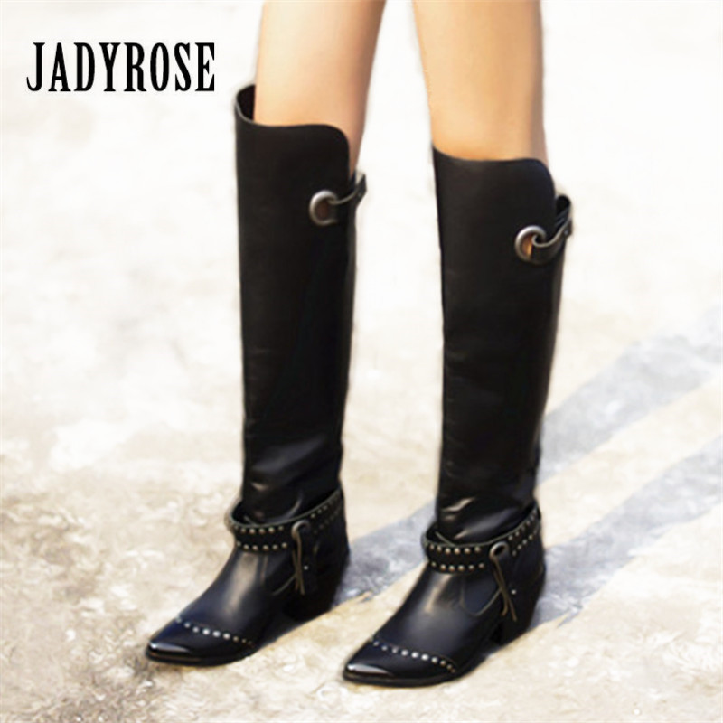 Jady Rose Black Pointed Toe Rivet Women Thigh High Boots Genuine Leather Over the Knee Boots Autumn Winter High Heel Botas MujerJady Rose Black Pointed Toe Rivet Women Thigh High Boots Genuine Leather Over the Knee Boots Autumn Winter High Heel Botas Mujer