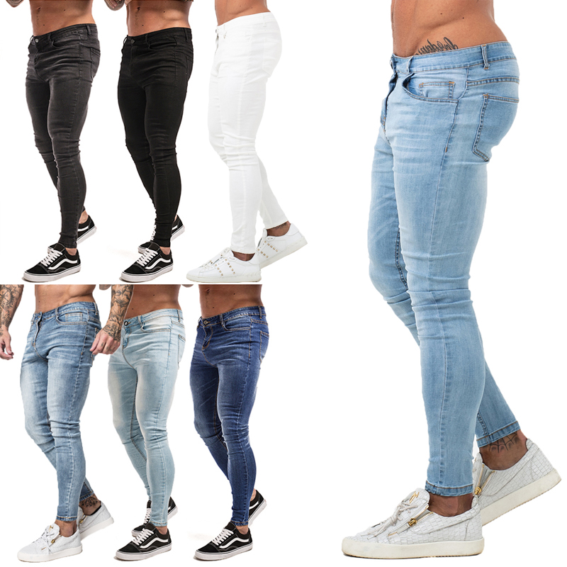 Mens Dünne Jeans 2019 Super Skinny Jeans Männer Nicht Ripped Stretch Denim Hosen Elastische Taille Große Größe Europäischen W36 zm01