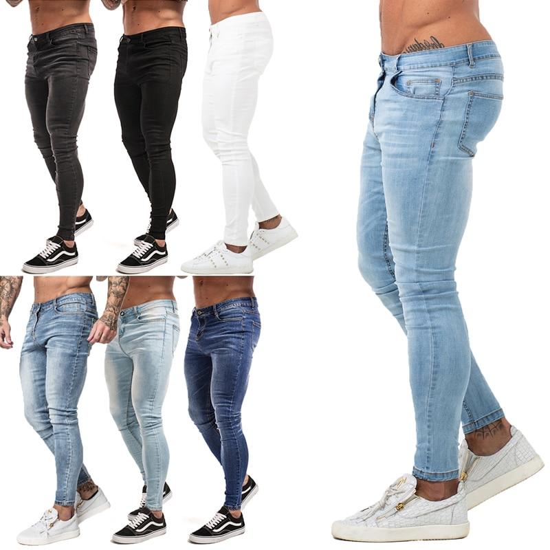 Mens Skinny Jeans 2019 Super Skinny Jeans Men Non Ripped Stretch Denim Pants Elastic Waist Big Size European W36 zm01
