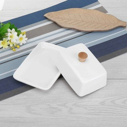 6/8 Cal Top ceramiczna maselniczka Box pojemnik do przechowywania masło serowe talerze serwer przechowywanie Keeper taca łatwa do trzymania pokrywka|Naczynia i talerze|   -