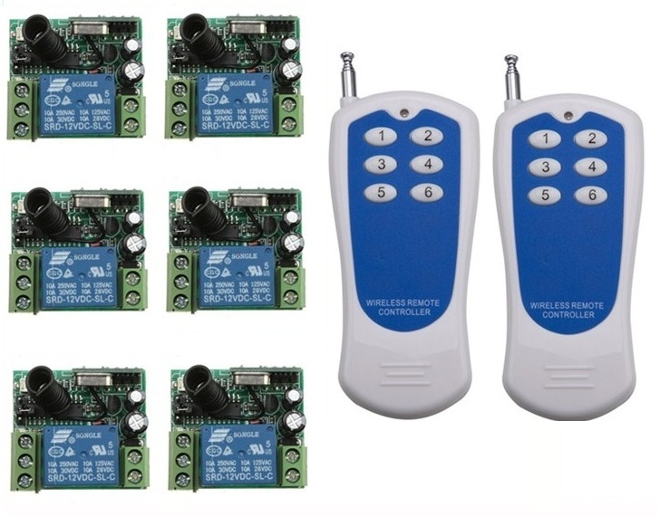 Free shipping RF Wireless remote control system 20-200M 2pcs (controller)transmitter +6 receiver(switch)12V 10A 315MHZ-433MHZ free shipping dc12v 433mhz metal