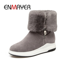 ENMAYER 2018 New Style Classic Women Winter Boots Mid-calf Snow Female Warm round toe zip boots ZYL267