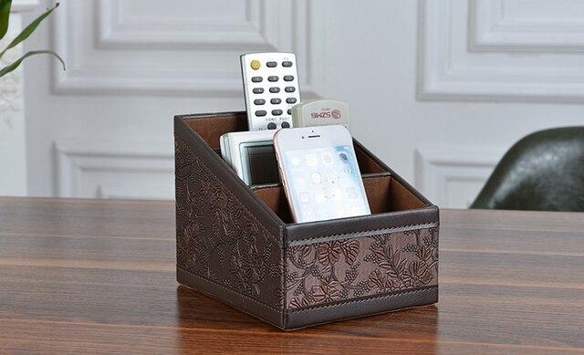 PU Leather Vintage Storage Box Remote Controller Holder Jewllery
