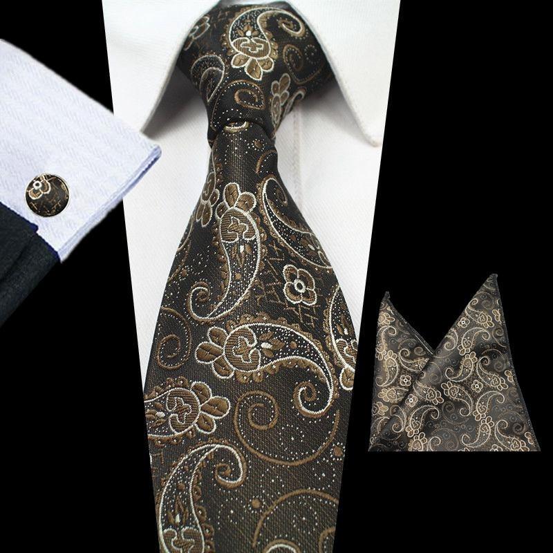 RBOCOTT 8 cm Silk Jacquard Tenunan Mens Paisley Tie Hanky - Aksesori pakaian - Foto 6
