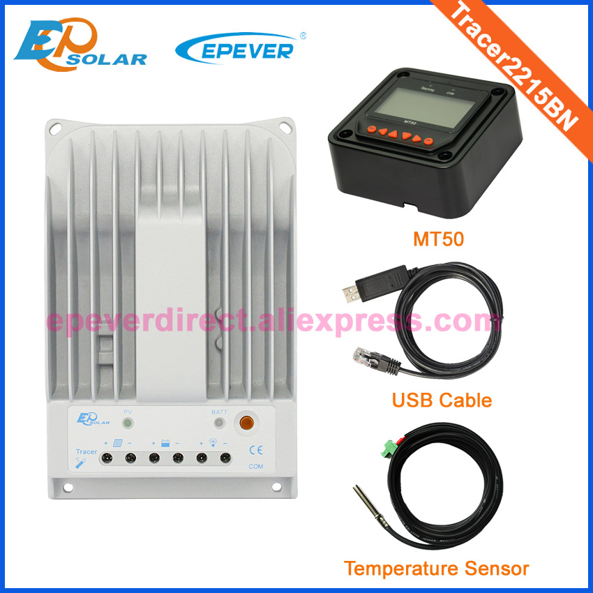 Tracer2215BN EPEVER USB cable and temp sensor MT50 meter matched application Solar chargcontroller EPsolar 20A 20amps MPPT 20a mppt solar battery controller epsolar epever tracer2210an 20amps usb cable and mt50 remote meter temp sensor