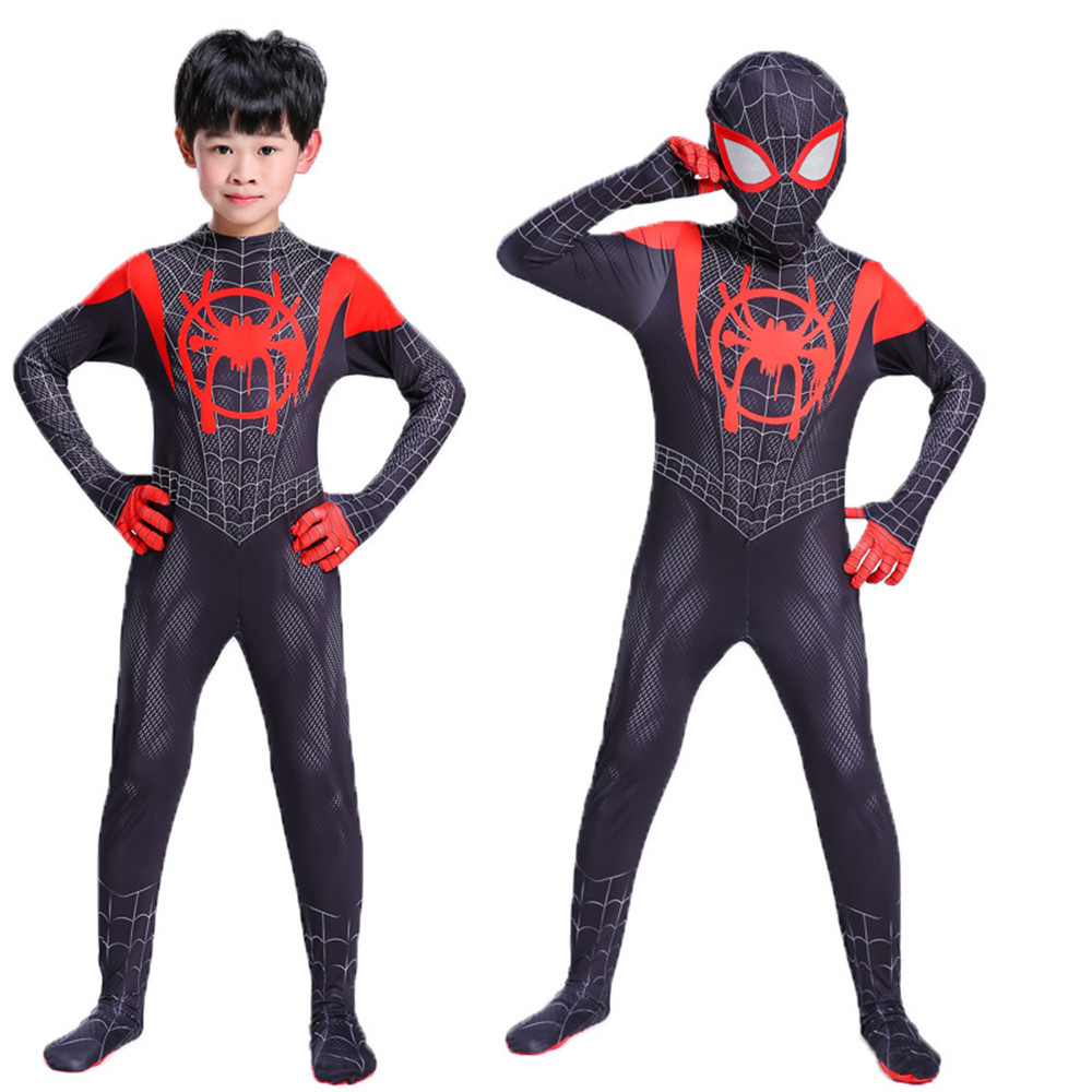 Black Spider Man Into the Spider Verse Costume Kids Miles Morales Cosplay Suit