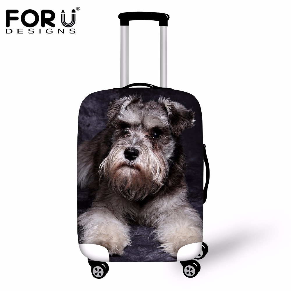 FORUDESIGNS 3D Schnauzer Waterproof Luggage Cover Protective Dust Covers Dog Animal Travel Suitcase Cover For 18-30  Inch Cases