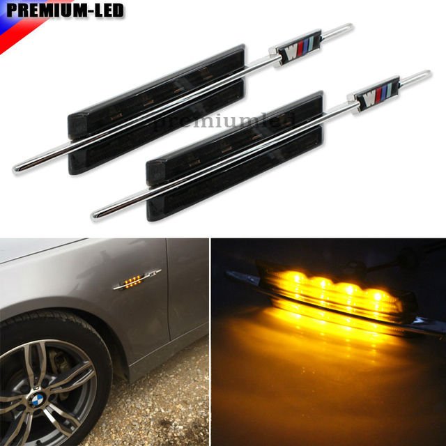2pcs m style smoked lens side marker lamps with amber led lights for