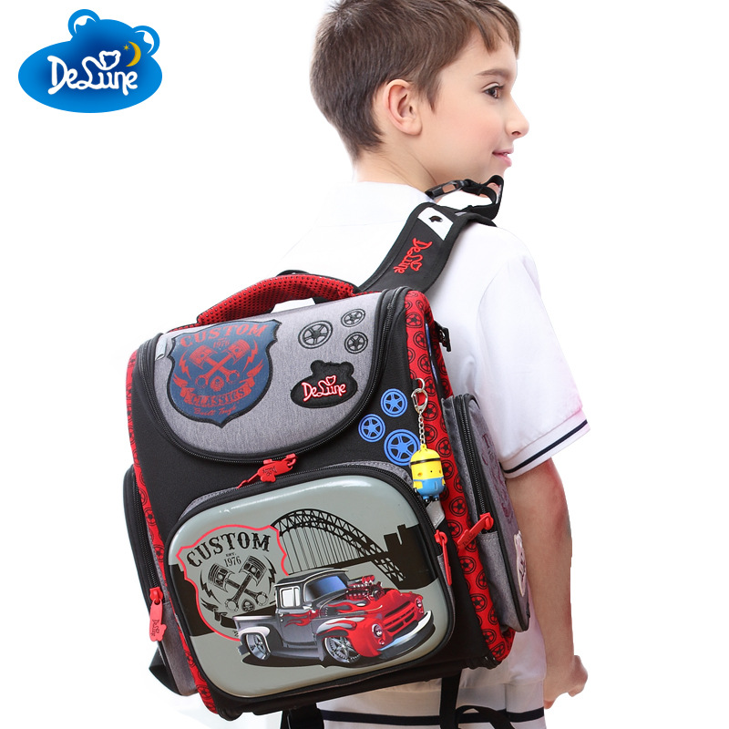 Delune Brand Orthopedic Children Backpack High Quality 3D Print School Bags for Boys Girls Child Bags Primary School Backpacks delune new european children school bag for girls boys backpack cartoon mochila infantil large capacity orthopedic schoolbag