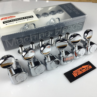 NEW Wilkinson WJ05 1 Set 6 In Line Guitar Tuners Machine Heads Tuners Chrome Mini Oval