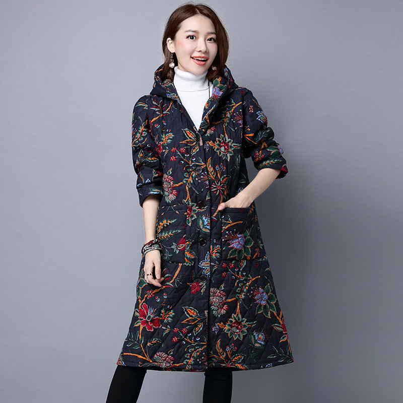 126c7919452 Hooded Trench Coats Women Winter 2016 Linen Trench Coats Long Maxi Coats  Hoody Plus Size Overcoat Female Ethnic Clothing-in Trench from Women s  Clothing on ...