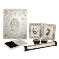 Baby Souvenirs Kit Photo Frame + Handprint Footprint Maker Inkpad + Birth Certificate Holder + Tooth Box for Baby Shower Gift