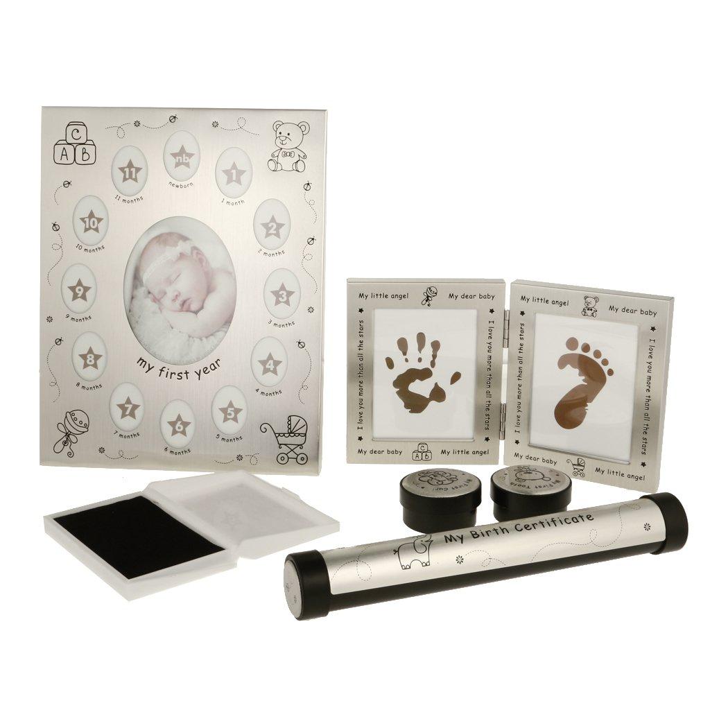 Bébé Souvenirs Kit cadre Photo + empreinte de main fabricant encreur + certificat de naissance titulaire + boîte à dents pour bébé douche cadeau