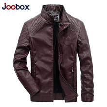 JOOBOX Brand 2017 Autumn Winter Best Selling Fashion PU Faux Leather Jacket Men Good Quality Casual Slim Mens Warm Jacket Coat