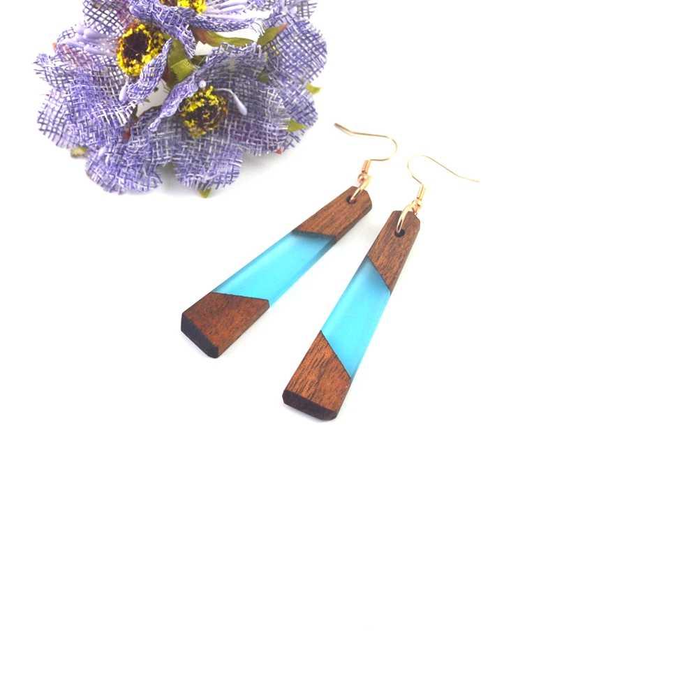 Leanzni 자연 나무 그레인 나무 수 지 귀걸이, 블루 패션 쥬얼리, 선물 도매 기능.