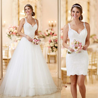 Vintage Detachable Skirt Wedding Dress 2019 Lace Wedding Gowns Short China Bride Dresses Princess Vestido de Noiva Plus Size