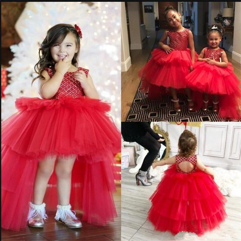 Unique Ball Gowns High Low   Flower     Girl     Dress   Tiered Top Sequined Backless Sleeveless Customized Birthday Gowns for 2-14 Years