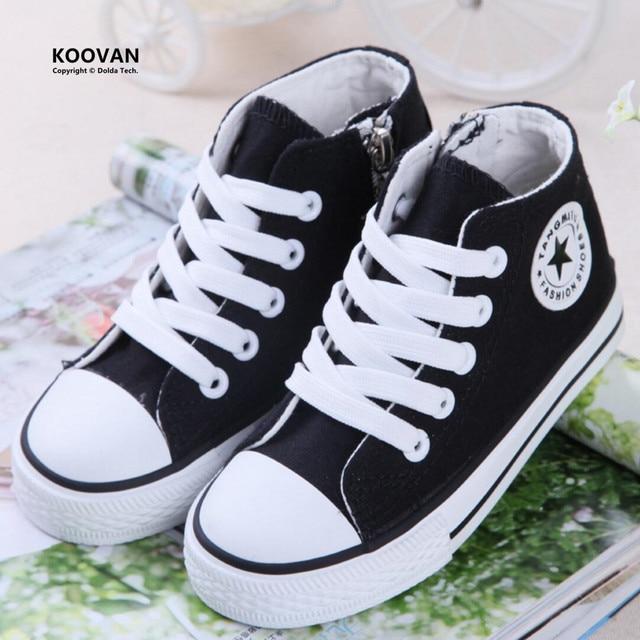 Koovan Children Canvas 2017 Spring Baby Girls Boys Fashion Sneakers Canvas Children's Plus Velvet Shoes Students Teenage Boots